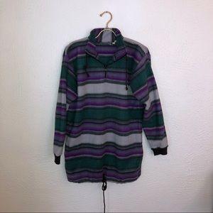 Vintage Blanket Stripe Fleece Pullover
